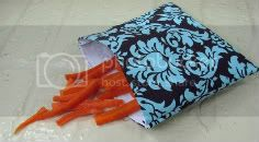 Large EcoStuffers FDA Food Safe Reusable Bags - Teal Damask