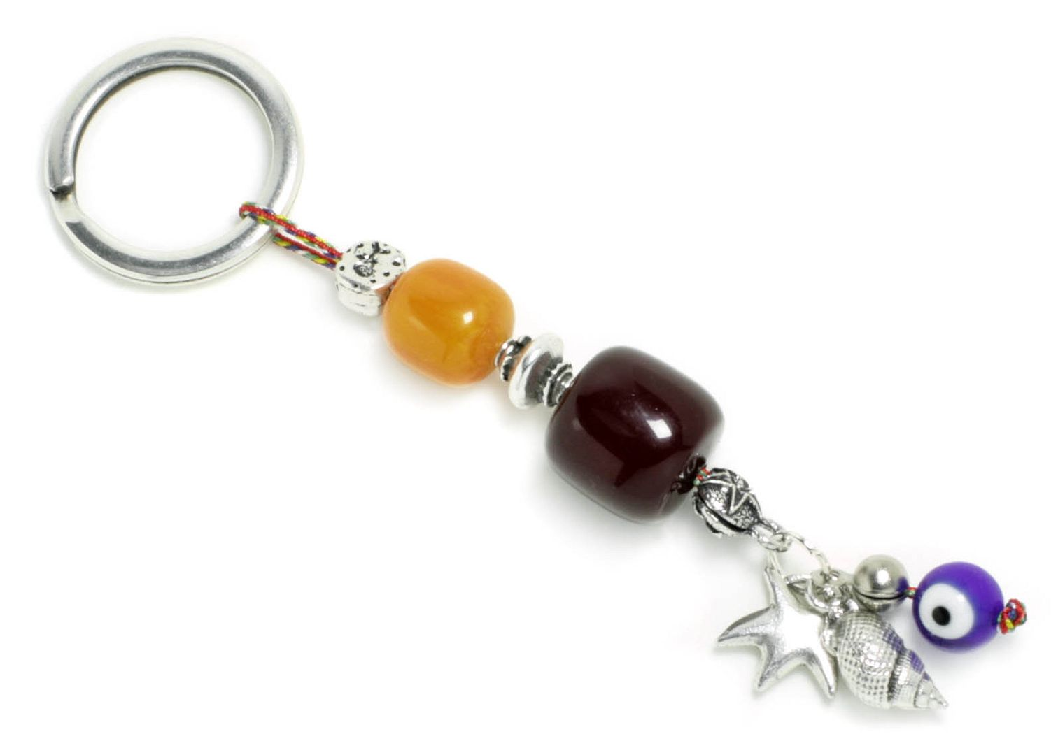 Keyring-Key Chain ~ High Quality Artificial Resin - Evil Eye, Starfish & Seashell