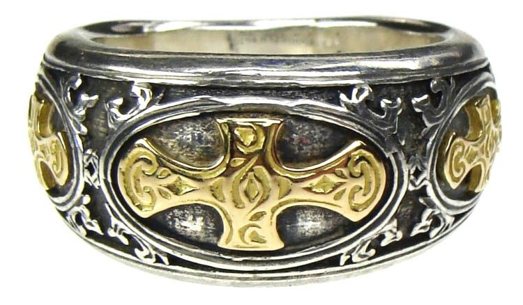 Gerochristo 2618 ~ Solid 18K Gold & Sterling Silver Medieval Crosses Band Ring