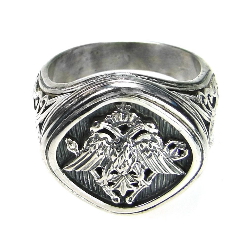 Gerochristo 2815 ~ Double Headed Eagle -Byzantine Silver Ring 