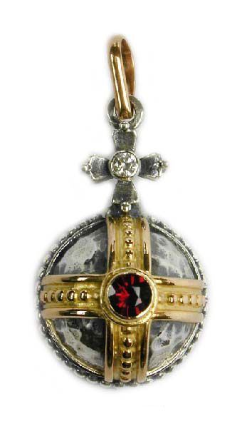 Gerochristo 3063 ~ Solid 18K Gold, Sterling Silver & Garnet Medieval-Byzantine Pendant 