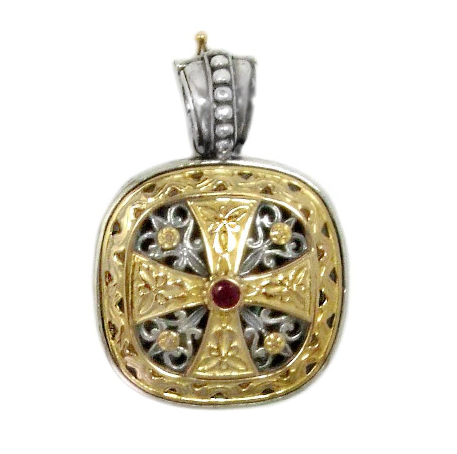 Gerochristo 3316 ~ Solid Gold, Silver & Ruby - Medieval-Byzantine Cross Pendant 