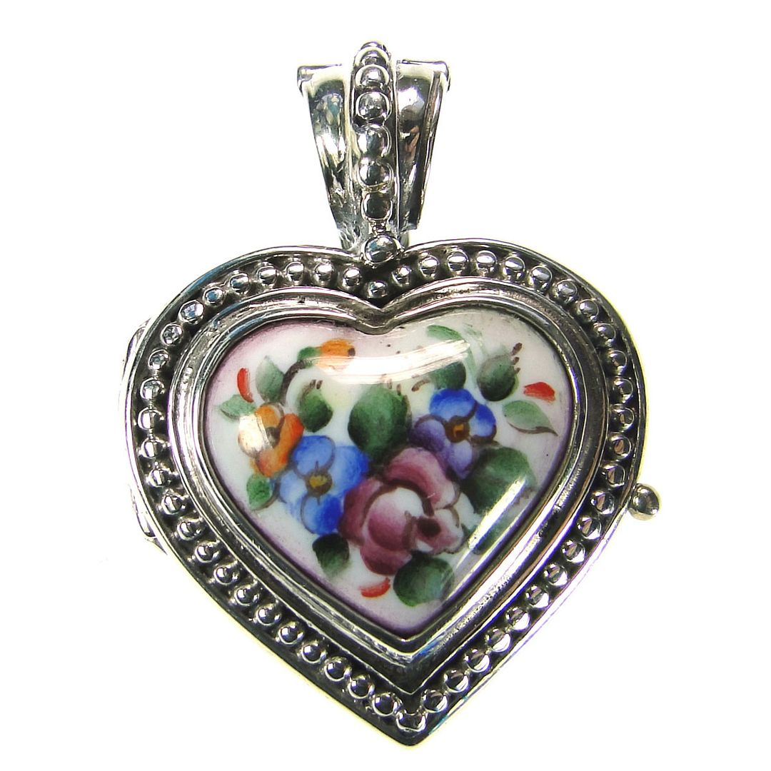 Gerochristo 3433 ~ Sterling Silver & Painted Porcelain Heart Locket Pendant - S 
