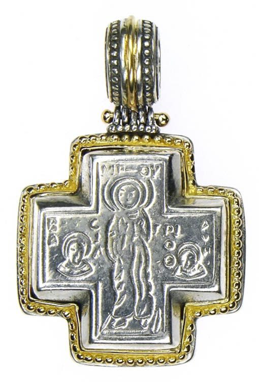 Gerochristo 5004 ~ Solid 18K Gold & Sterling Silver Byzantine Cross Pendant 