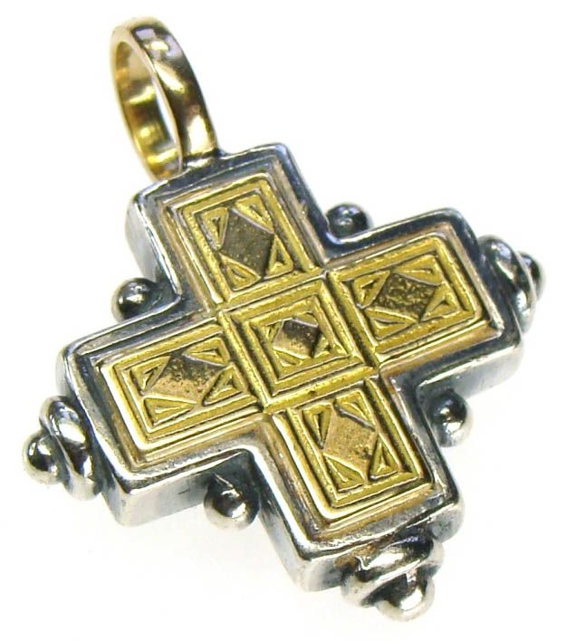 Gerochristo 5014 ~ Solid 18K Gold & Sterling Silver Byzantine Cross Pendant 