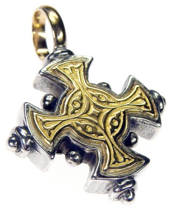 Gerochristo 5017 ~ Solid 18K Gold & Sterling Silver Byzantine Cross Pendant