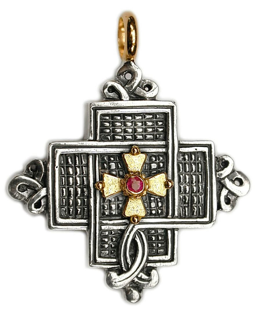 Gerochristo 5054 ~ Solid 18K Gold, Sterling Silver & Ruby Coptic Cross Pendant