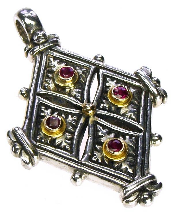 Gerochristo 5056 ~ Solid 18K Gold, Sterling Silver & Ruby Coptic Cross Pendant 
