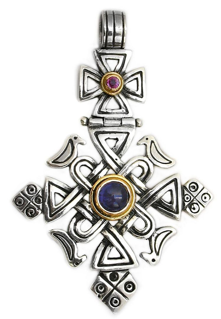 Gerochristo 5061 ~ Solid 18K Gold, Sterling Silver, Iolite & Ruby Coptic Cross Pendant 