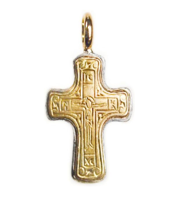 Gerochristo 5065 ~ Solid 18K Gold & Silver Byzantine Cross Pendant