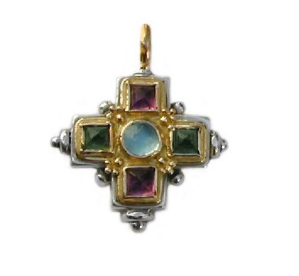 Gerochristo 5095 ~ Gold, Silver & Stones Multicolor Medieval-Byzantine Cross Pendant 
