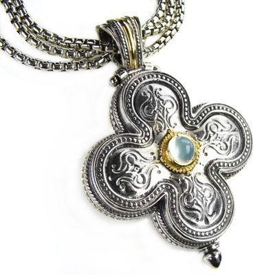 Gerochristo 5140 ~ Solid 18K Gold & Silver Medieval-Byzantine Cross Pendant 