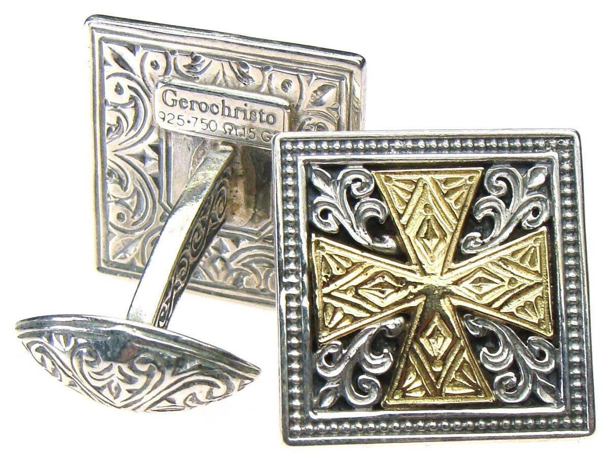 Gerochristo 7100 ~ Solid 18K Gold & Sterling Silver Medieval Cross Cufflinks 