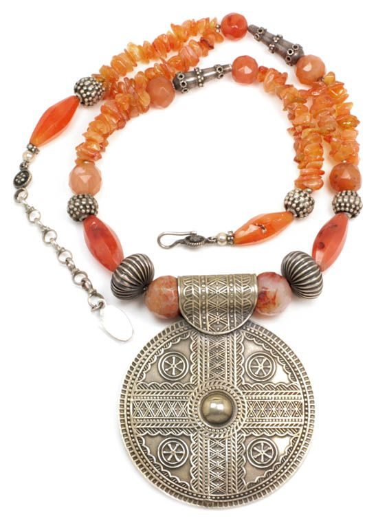 Vintage Ethnic Bedouin Necklace ~ Carnelian & Silver