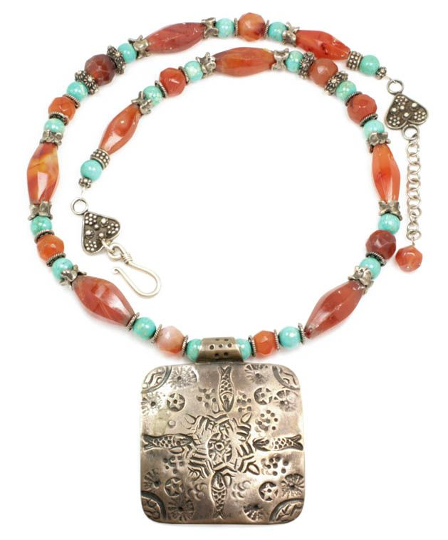 Vintage Ethnic Bedouin Necklace ~ Carnelian & Turquoise 