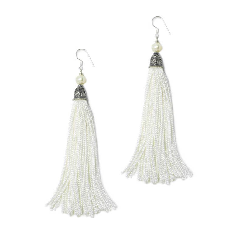 The Fringes ~ Sterling Silver, Pearls & Rayon Earrings - The Something New 