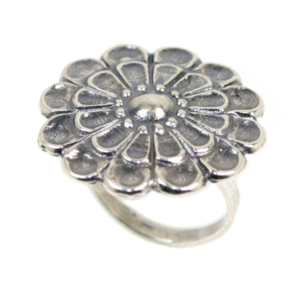 12-Leaf Mycenaean Rosette ~ Sterling Silver Adjustable Ring - Mycenaean Jewelry