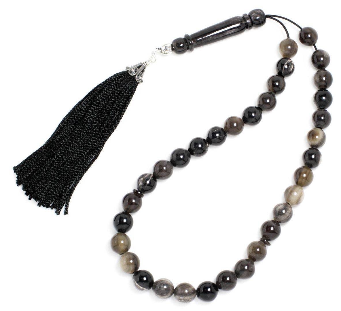 Prayer Beads-Tasbih-Masbaha ~ Worry Beads - Bull Horn with Tassel - Round