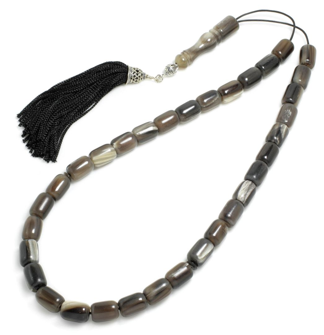 Prayer Beads-Tasbih-Masbaha ~ Worry Beads - Bull Horn with Tassel - Barrel 